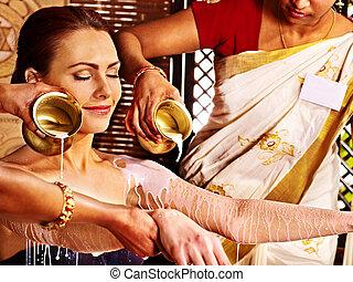 treatment., spa, vrouw, hebben, ayurvedic