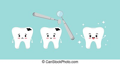 Treatment tooth with decay kids dental hygiene and treatment concept.