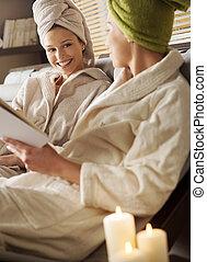 treatments., spa, apprécier, femmes