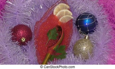 Treats for Christmas - Red caviar is served as a treat for...