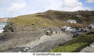 Trebarwith Strand Cornwall England UK coastal village...