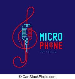 treble, テキスト, ダッシュ, 形, デザイン, ロゴ, 音部記号, 青, マイクロフォン, 隔離された, レトロ, スペース, イラスト, 暗い背景, 線, コピー, アイコン, 10, アウトライン, ケーブル, eps, ストローク, ベクトル
