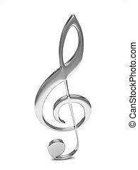 treble clef 3d on white