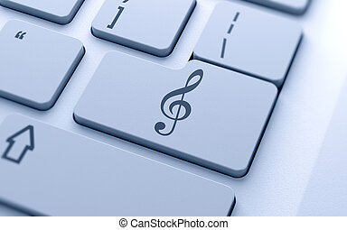 3d treble clef sign button on keyboard with soft focus