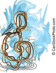 treble clef and bird