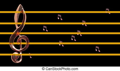Treble clef and musical notes moving left and right - Tempo...