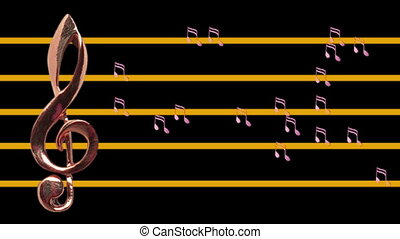 Treble clef and musical notes moving - Low-tempo - Music -...