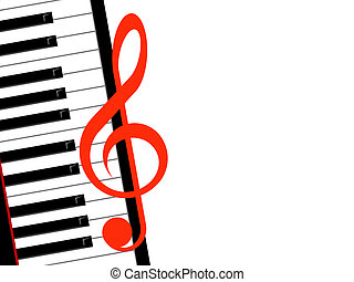 treble clef and piano on a white background