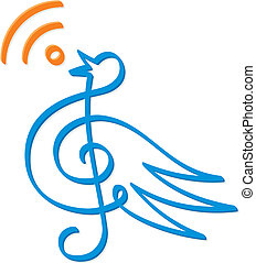 Treble clef bird vector - Treble clef bird line-art with RSS...