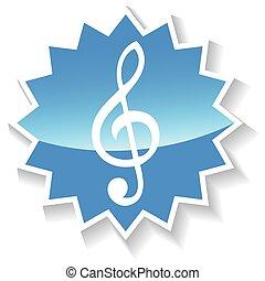 Treble clef blue icon