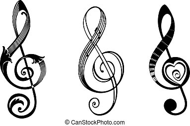 Treble clef in different styles, vector illustration