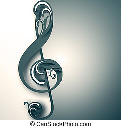 treble clef with ornament on light background