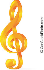 Treble clef - Golden treble clef vector illustration on...