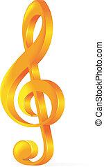 Golden treble clef vector illustration on white background