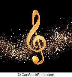 Treble clef golden - Treble clef on shiny background, volume...