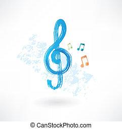treble clef grunge icon