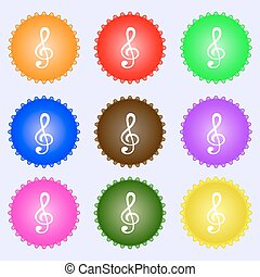 treble clef icon. A set of nine different colored labels. Vector