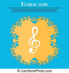 treble clef icon. Floral flat design on a blue abstract background with place for your text. Vector