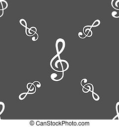 treble clef icon. Seamless pattern on a gray background. Vector