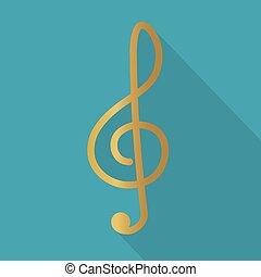 treble clef icon - vector illustration