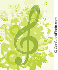Treble clef against the nature. A vector illustration