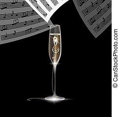 treble clef in the glass