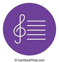 Treble clef line icon. - Treble clef thick line icon with...