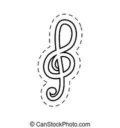 treble clef music cut line vector illustraiton eps 10