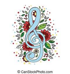 TREBLE CLEF Musical Concert Symbol Vector Illustration Set
