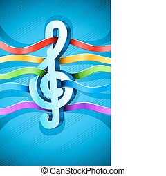 treble clef musical symbol with ribbon