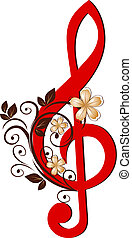 treble clef, noha, egy, virág példa