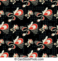 treble clef on a black background Abstract seamless pattern
