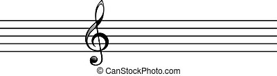 Treble clef on the stave