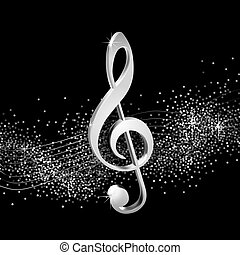 Treble clef silver - Treble clef on shiny background, volume...