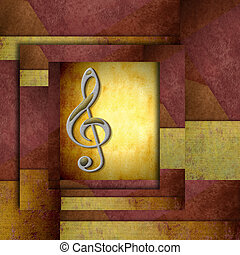 treble clef staff - musical background with treble clef...