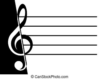 Treble clef and lines on a white and black background