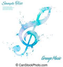 Treble clef, watercolor - Treble clef, abstract composition...