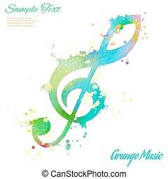 Treble clef, watercolor