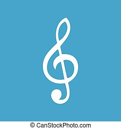 Treble clef white icon