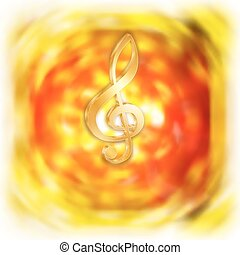 treble clef with bright blurred background