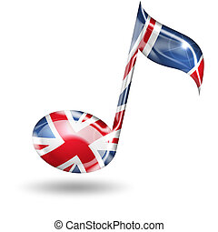 treble clef with English flag colors on white background