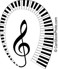 treble clef with keyboard around - isolated black treble...