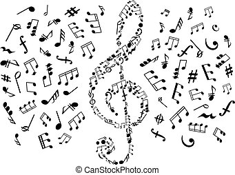 Treble clef with notes among musical symbols - Treble clef...