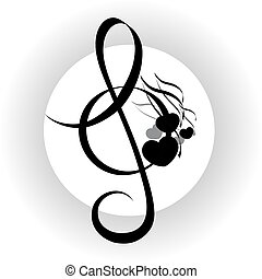 Treble clef with notes design - Music background, treble...