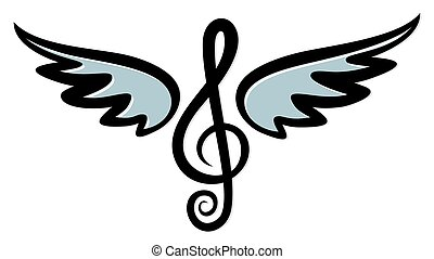 Treble clef with wings.