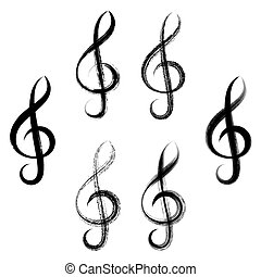 Treble clefs brush strokes design - Black vector treble clef...