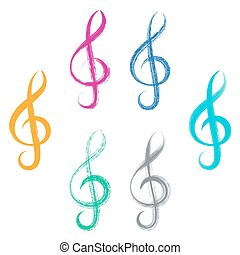 Treble clefs brush strokes design - Colorful vector treble...