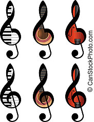 treble clefs - set of abstract treble clefs from piano keys,...
