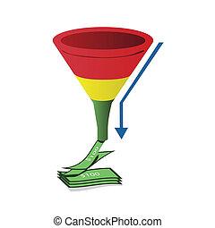 trechter, omzet, geel groen, richtingwijzer, rood