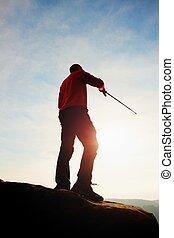trecking, postes, comming., manos, rocoso, vista, estante, deportivo, point., primavera, turista, windcheater
